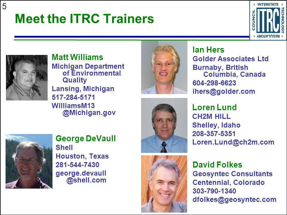 Meet the ITRC Trainers Ian Hers Matt Williams Loren Lund