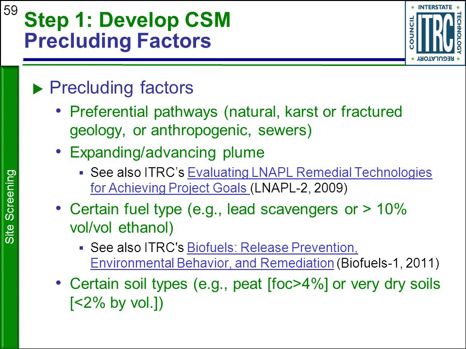 Step 1: Develop CSM Precluding Factors