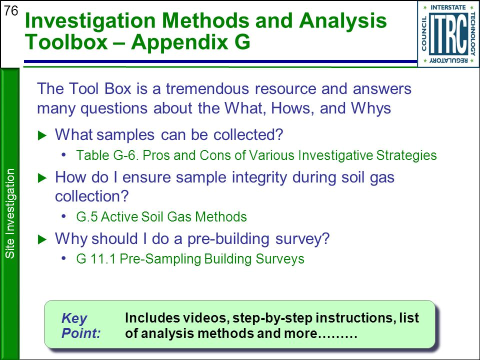 Investigation Methods and Analysis Toolbox – Appendix G