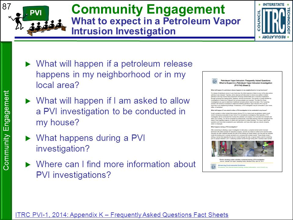 Community Engagement What to expect in a Petroleum Vapor Intrusion Investigation