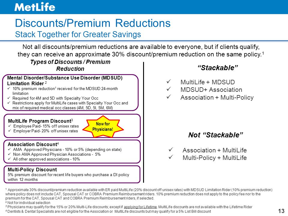 Discounts/Premium Reductions Stack Together for Greater Savings