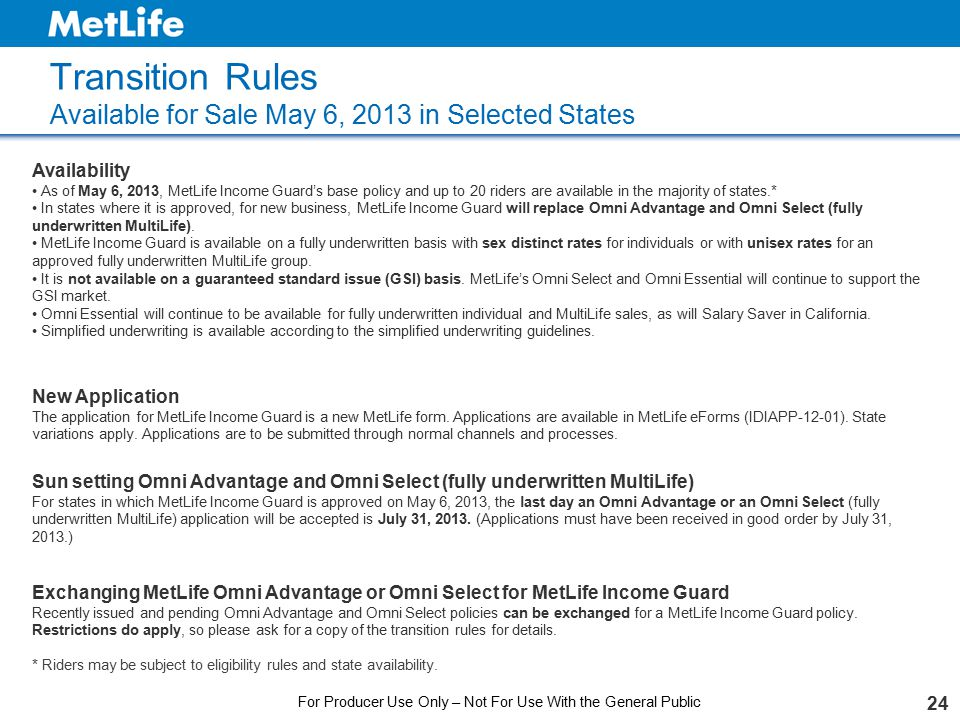 Transition Rules Available for Sale May 6, 2013 in Selected States