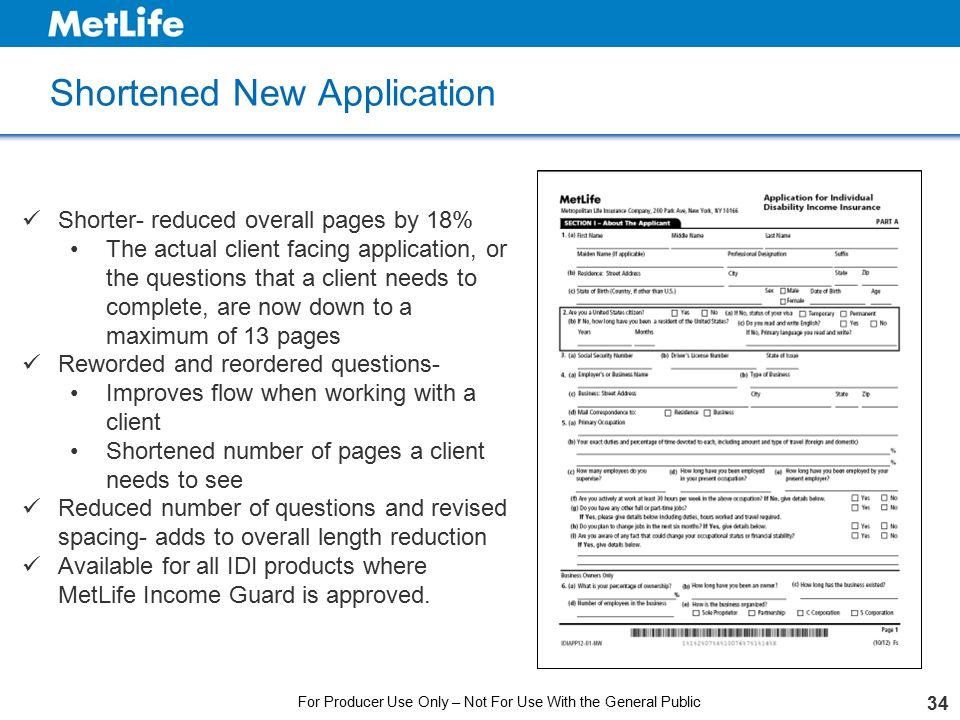 Shortened New Application