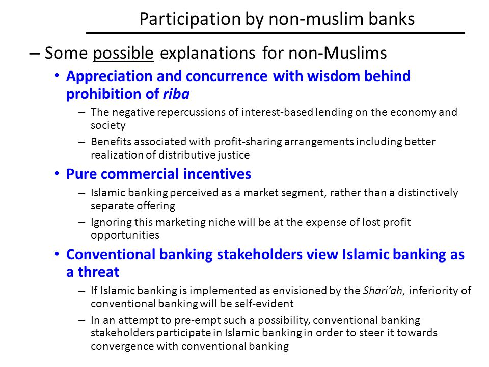 Participation by non-muslim banks