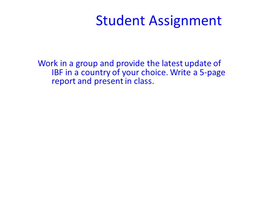 Student Assignment Work in a group and provide the latest update of IBF in a country of your choice.