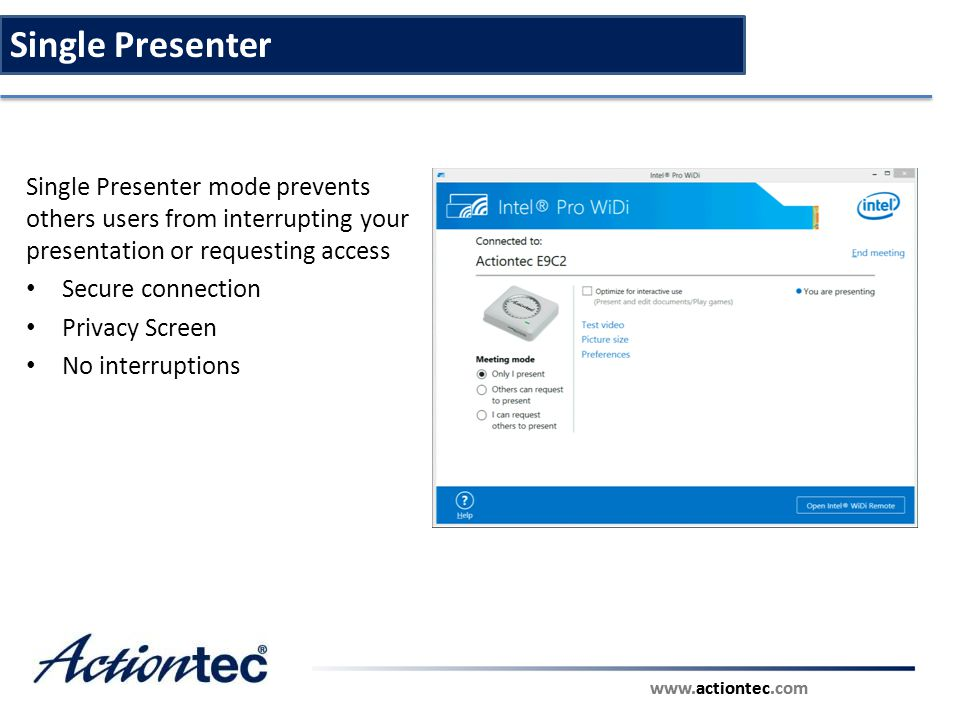 Single Presenter Single Presenter mode prevents others users from interrupting your presentation or requesting access.