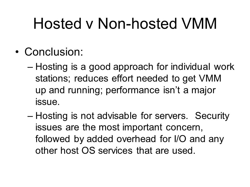 Hosted v Non-hosted VMM
