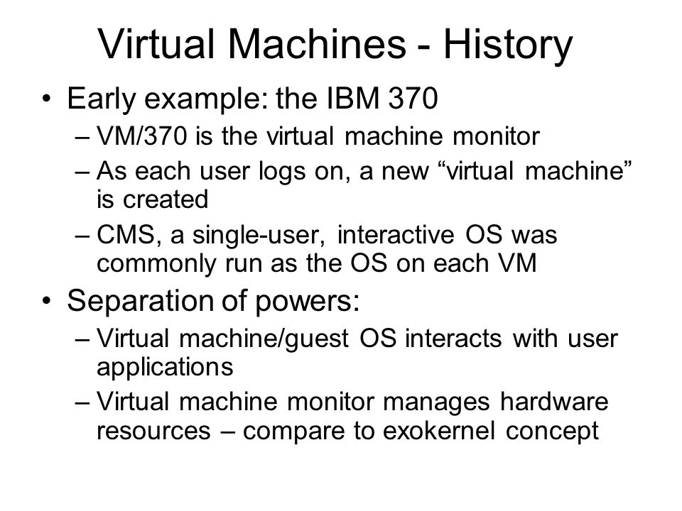 Virtual Machines - History