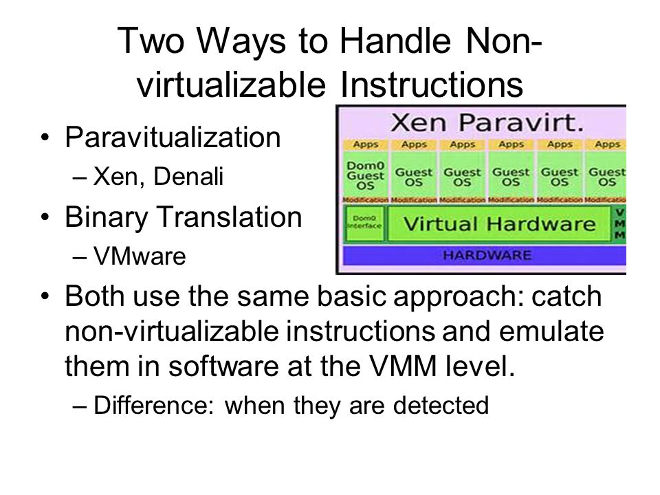 Two Ways to Handle Non-virtualizable Instructions