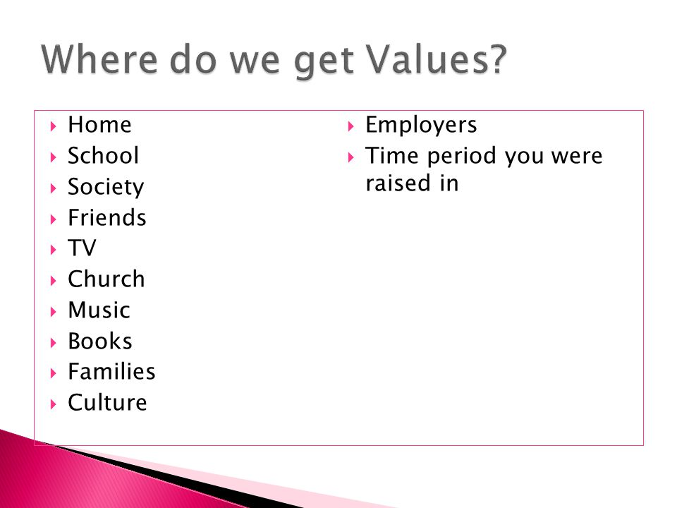 Where do we get Values Home Employers School