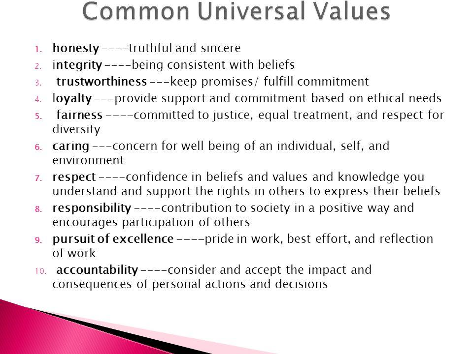 Common Universal Values