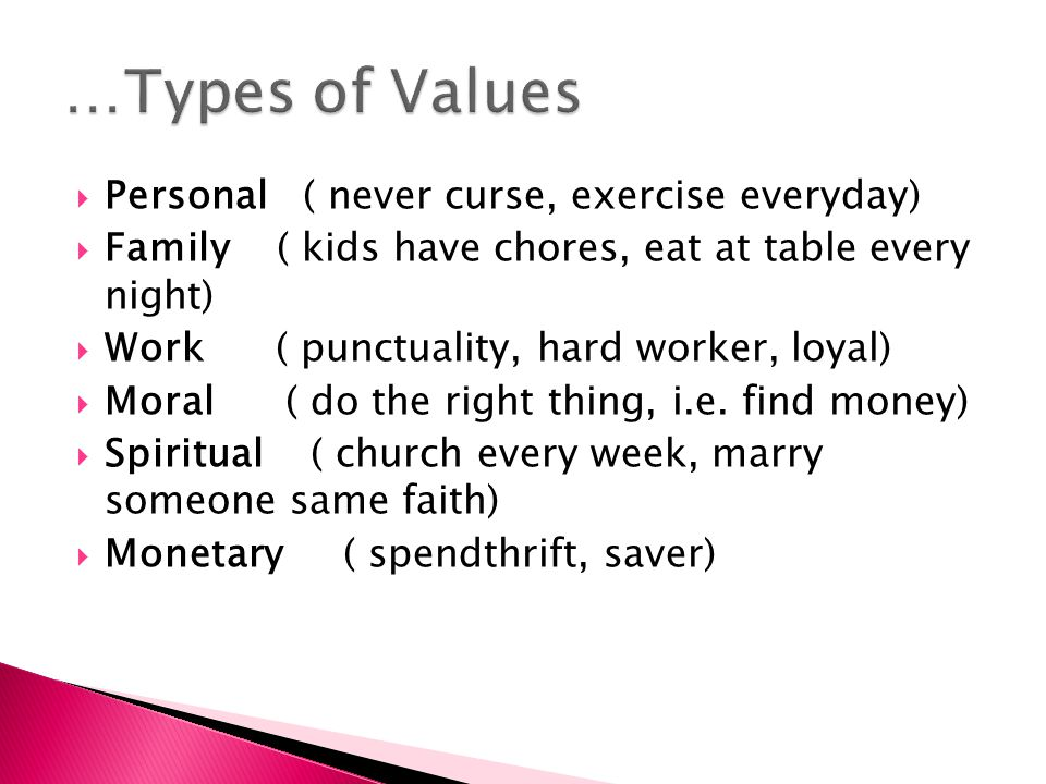 …Types of Values Personal ( never curse, exercise everyday)