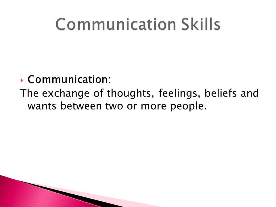 Communication Skills Communication: