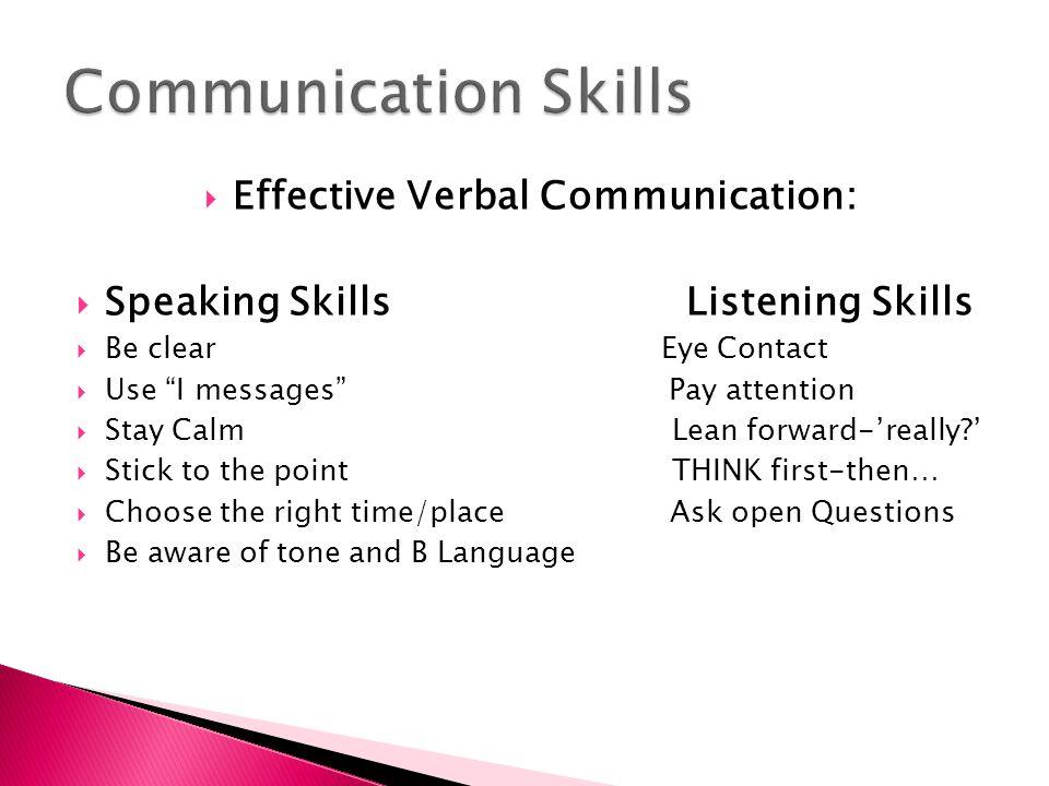 Effective Verbal Communication: