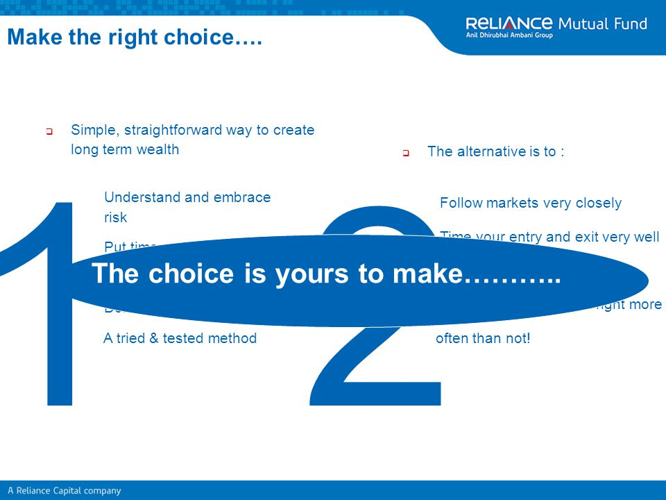1 2 The choice is yours to make……….. Make the right choice….