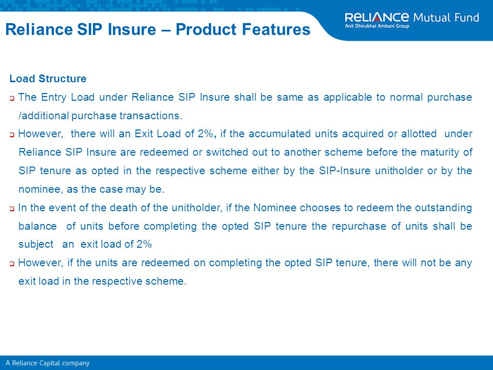 Reliance SIP Insure – Product Features