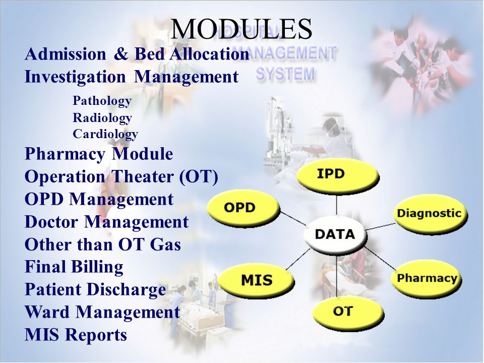 MODULES Admission & Bed Allocation Investigation Management Pathology