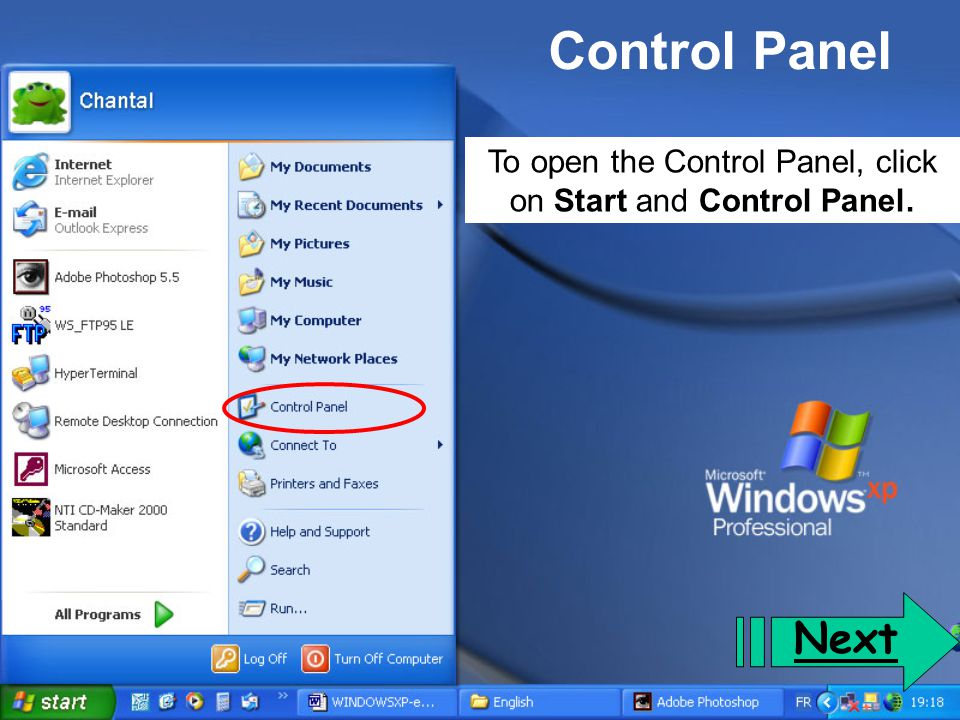 To open the Control Panel, click on Start and Control Panel.