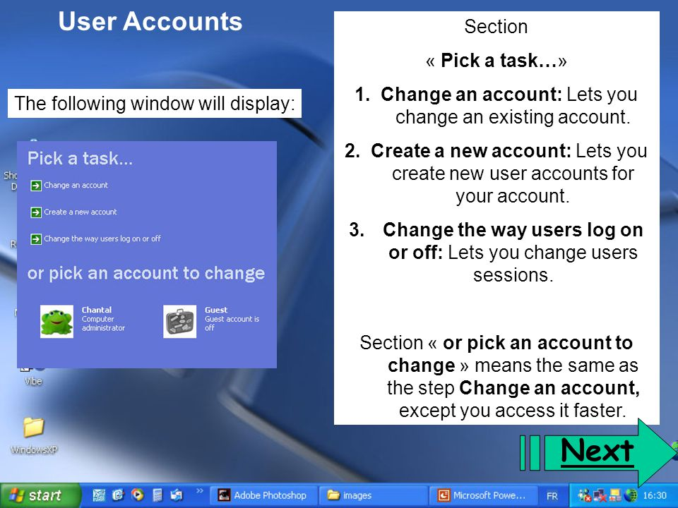Next User Accounts Section « Pick a task…»