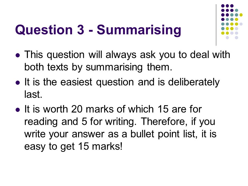 Question 3 - Summarising