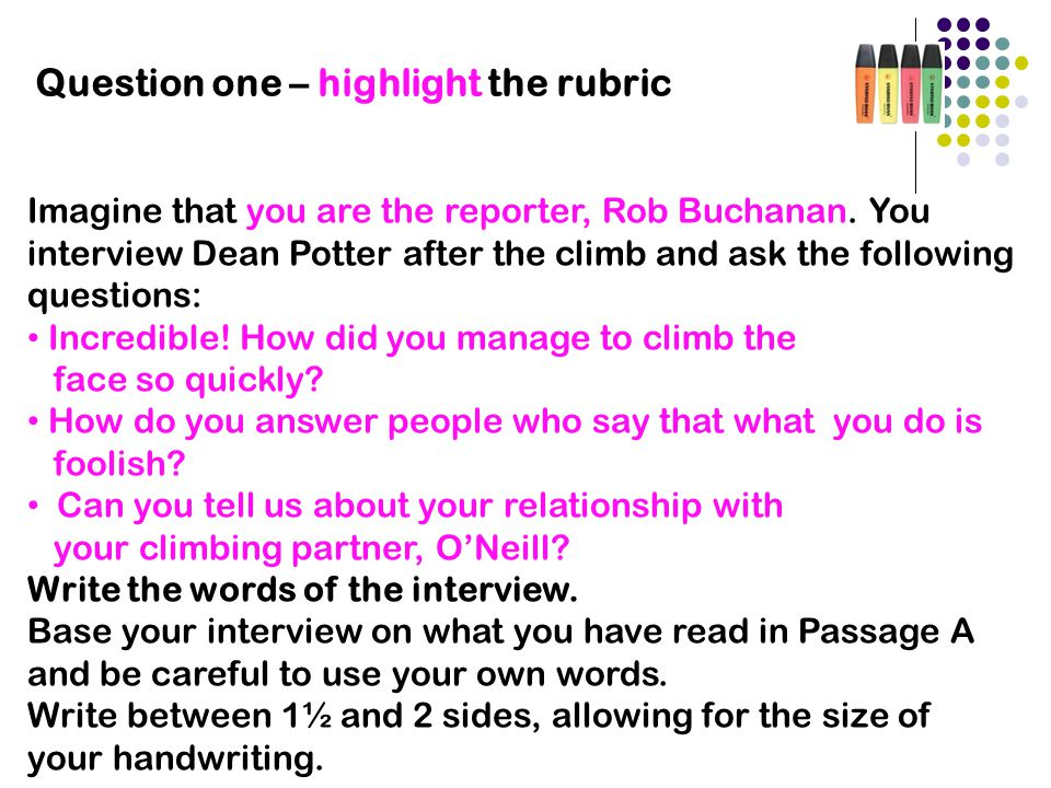 Question one – highlight the rubric