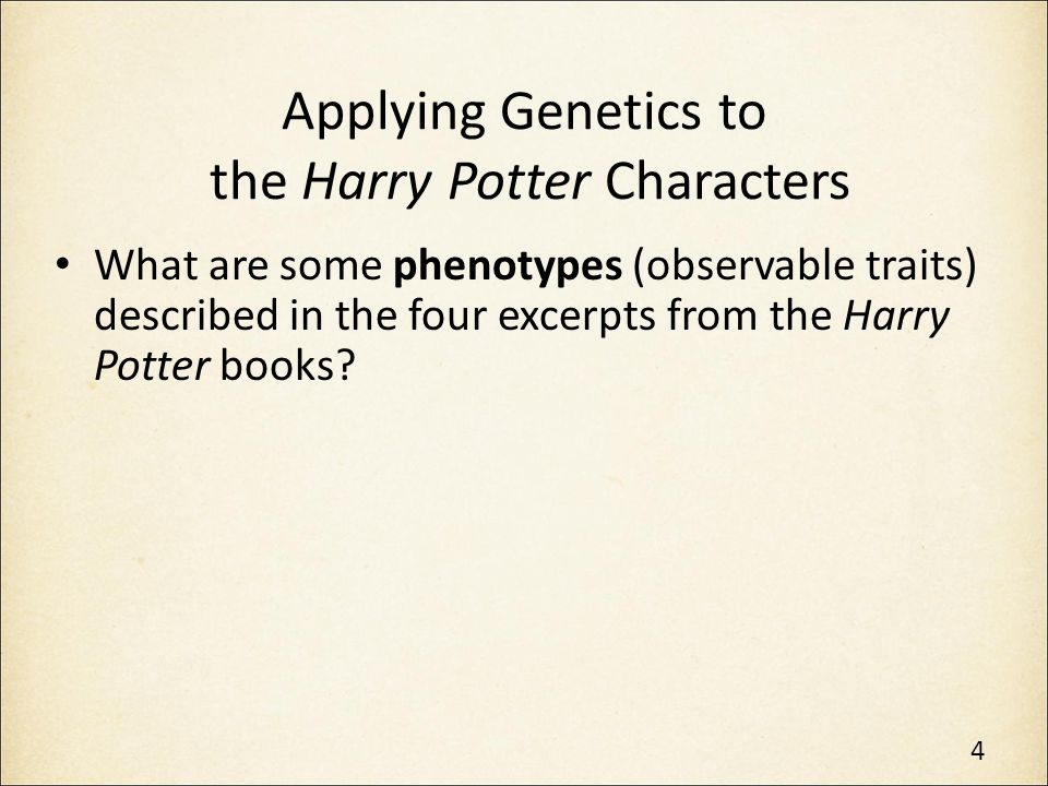 Applying Genetics to the Harry Potter Characters