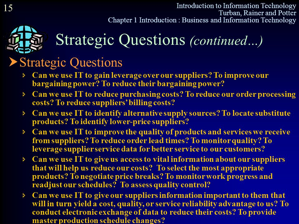 Strategic Questions (continued…)