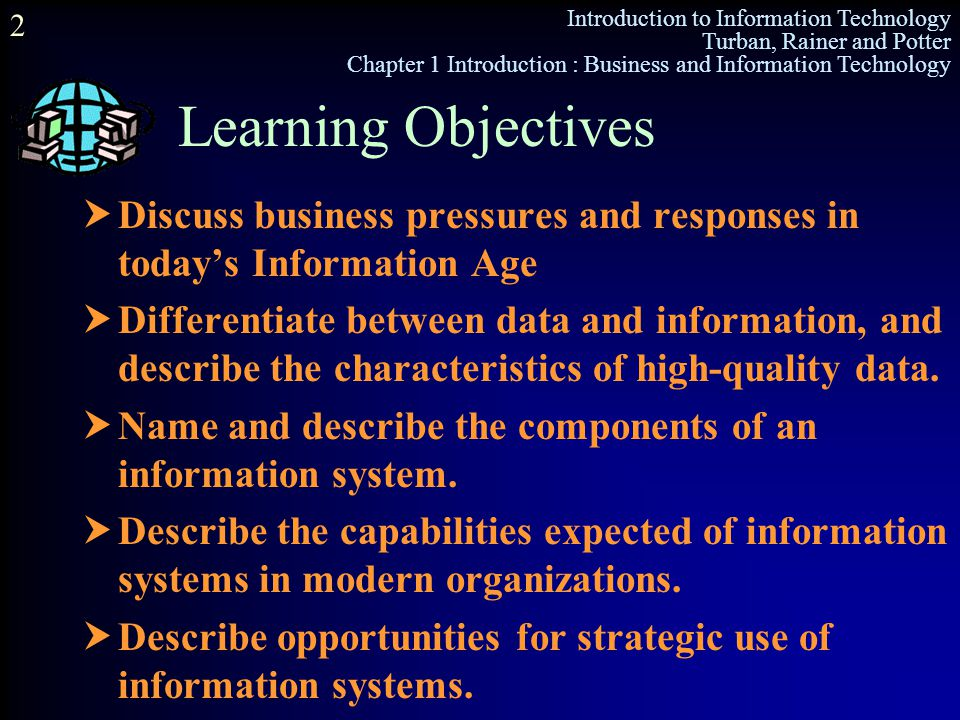 Learning Objectives Discuss business pressures and responses in today's Information Age.