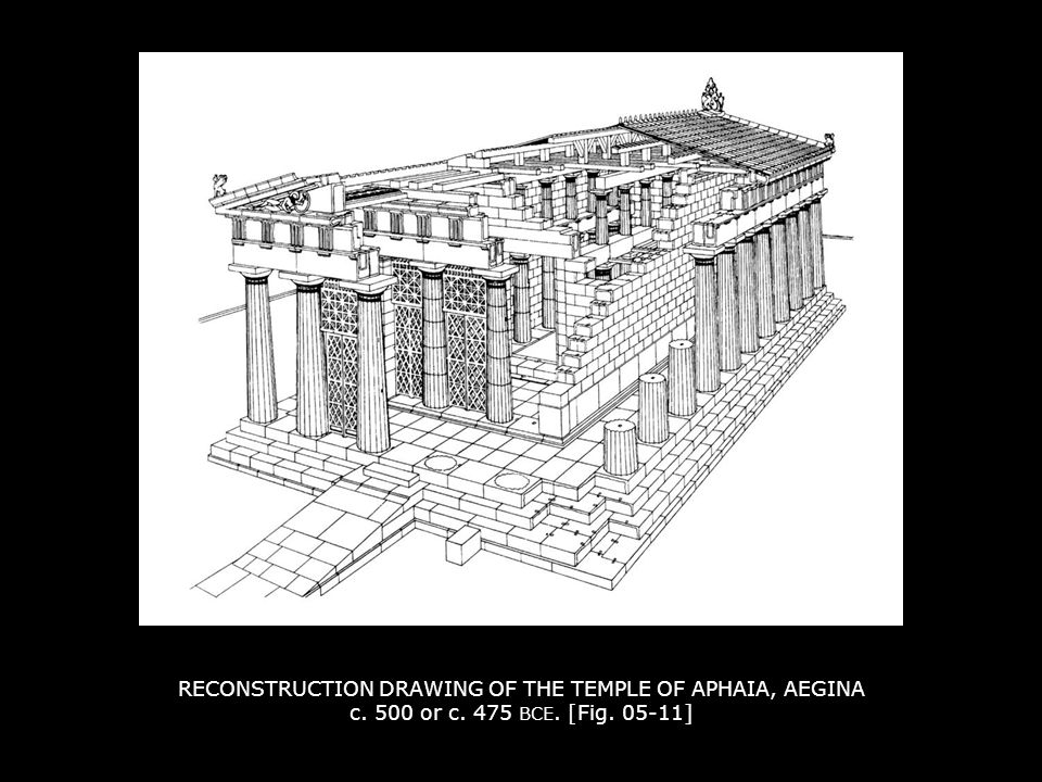 RECONSTRUCTION DRAWING OF THE TEMPLE OF APHAIA, AEGINA c. 500 or c