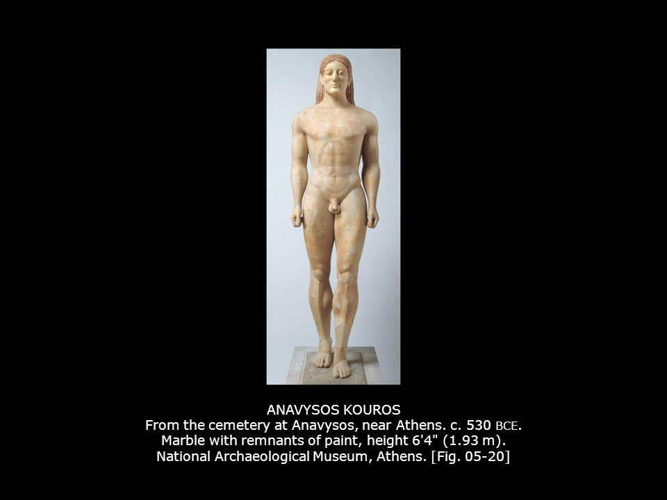 ANAVYSOS KOUROS From the cemetery at Anavysos, near Athens. c. 530 BCE
