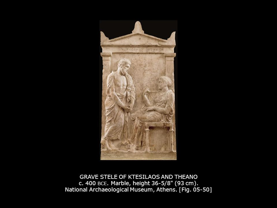 GRAVE STELE OF KTESILAOS AND THEANO c. 400 BCE