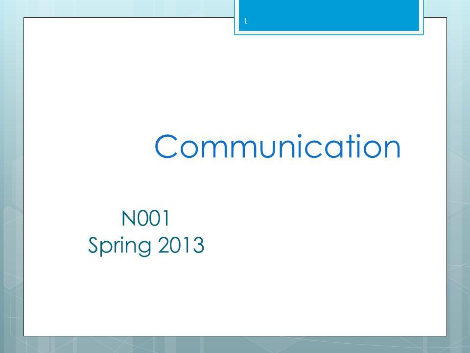 Communication N001 Spring 2013