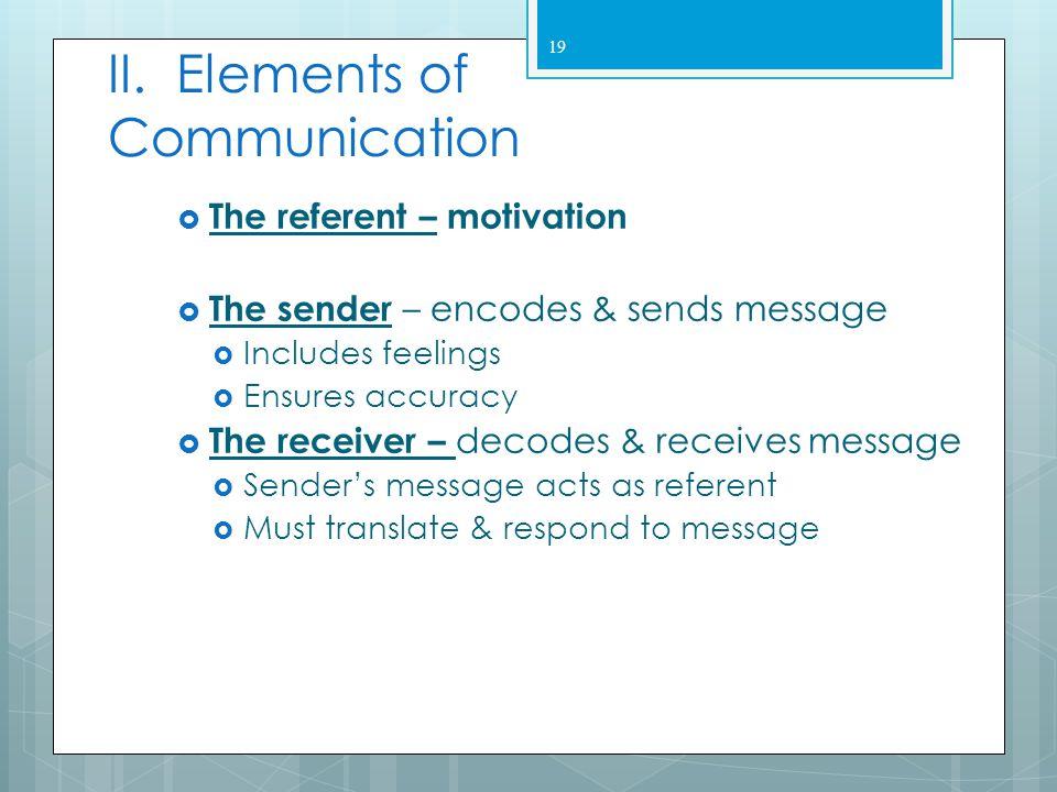 II. Elements of Communication