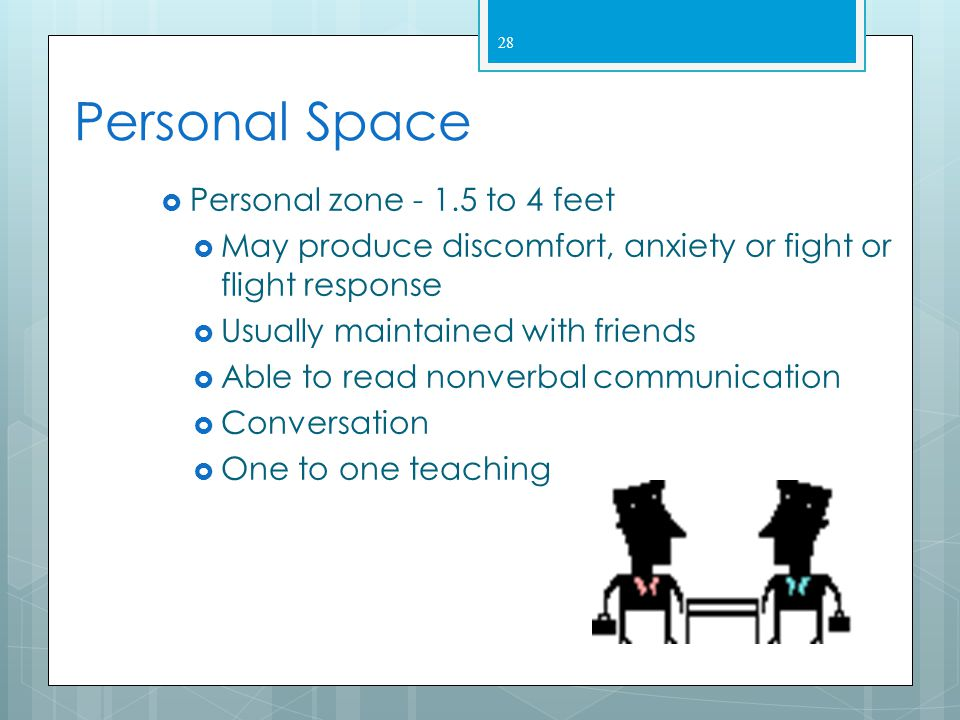Personal Space Personal zone - 1.5 to 4 feet