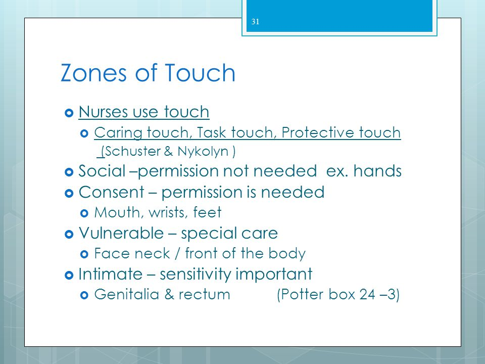 Zones of Touch Nurses use touch