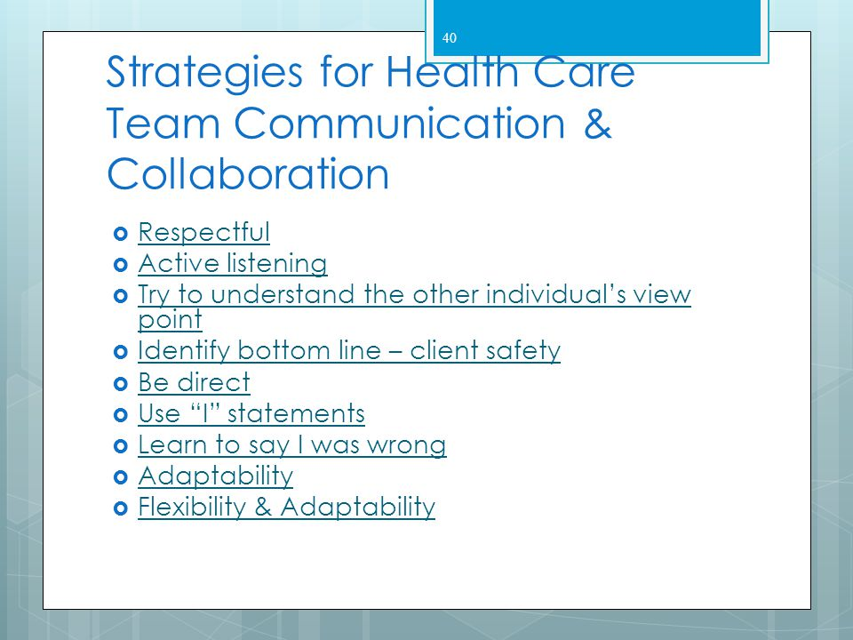 Strategies for Health Care Team Communication & Collaboration