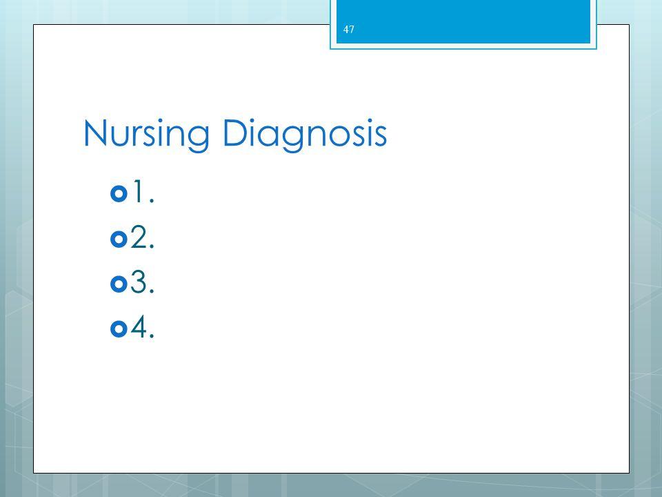 Nursing Diagnosis 1. 2. 3. 4.