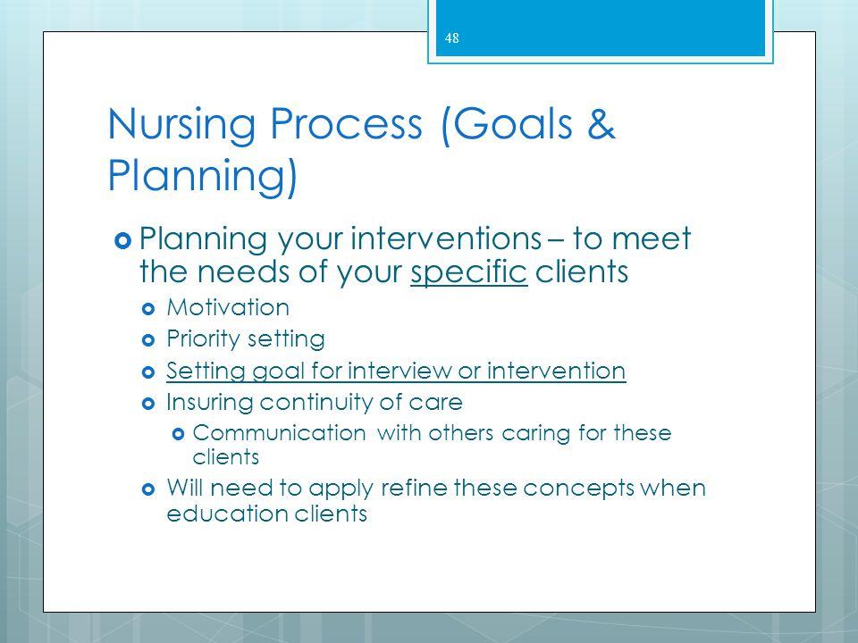 Nursing Process (Goals & Planning)