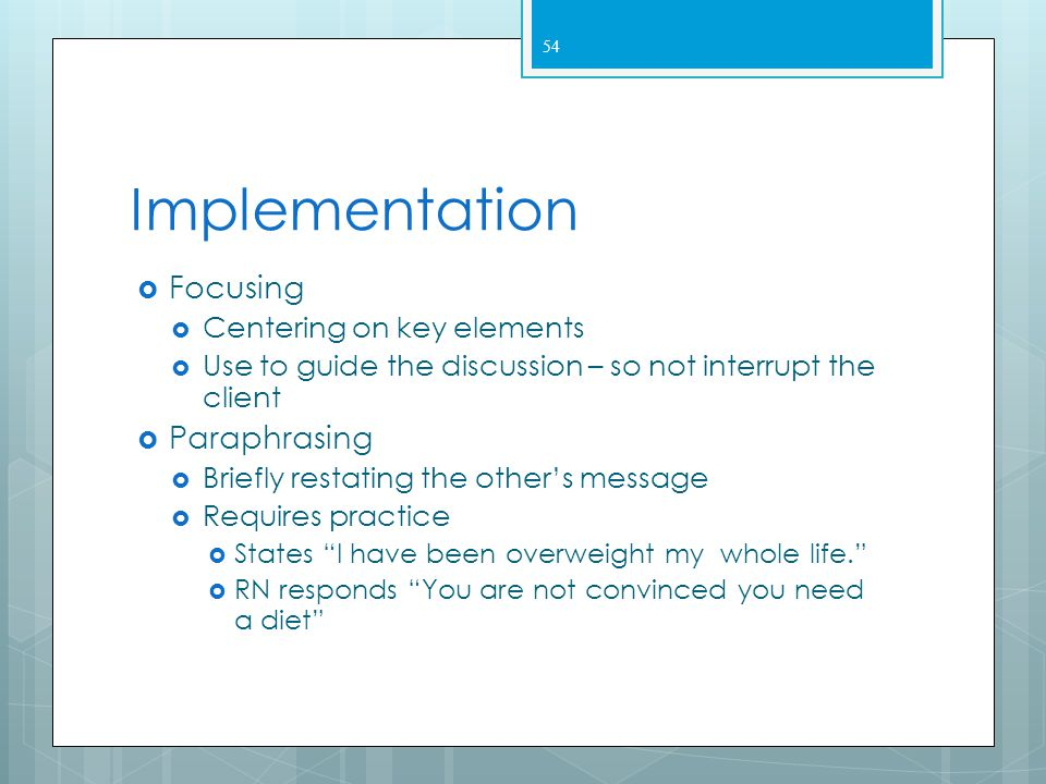 Implementation Focusing Paraphrasing Centering on key elements