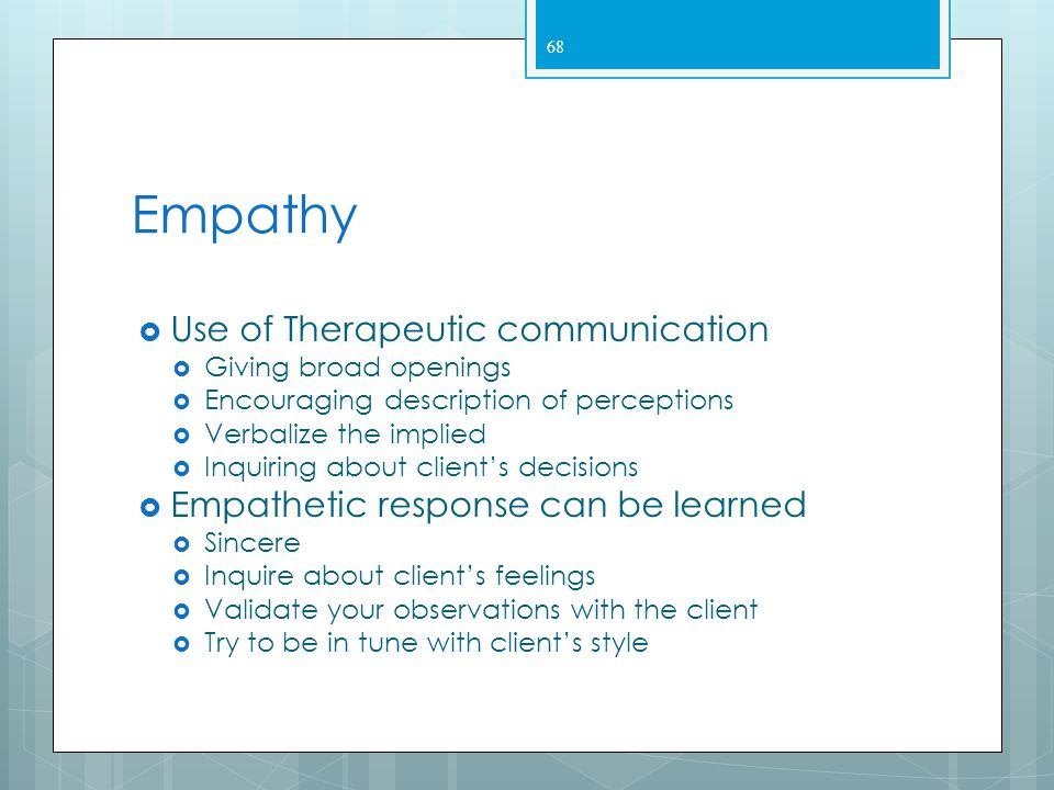 Empathy Use of Therapeutic communication