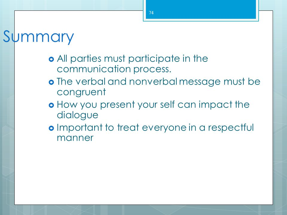 Summary All parties must participate in the communication process.