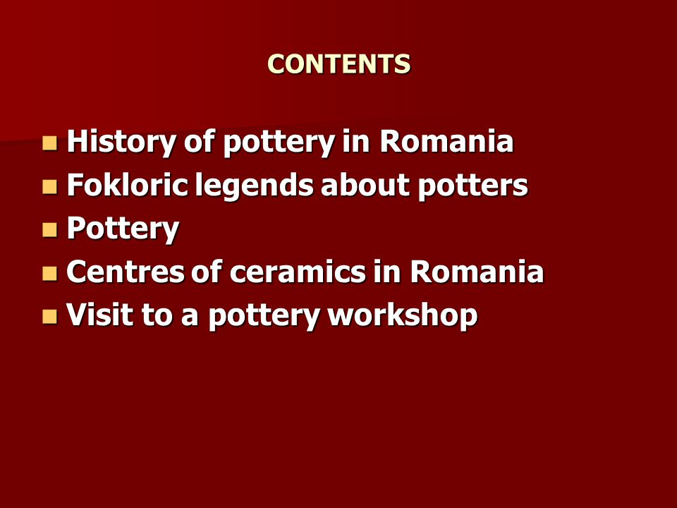 History of pottery in Romania Fokloric legends about potters Pottery