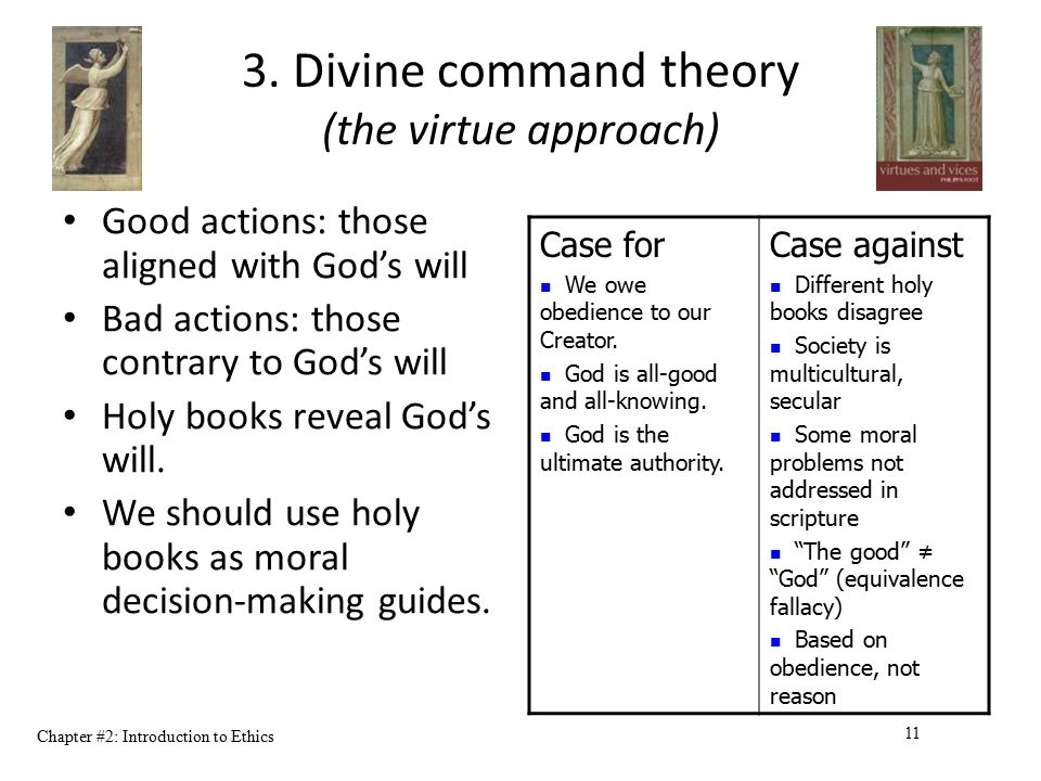 3. Divine command theory (the virtue approach)