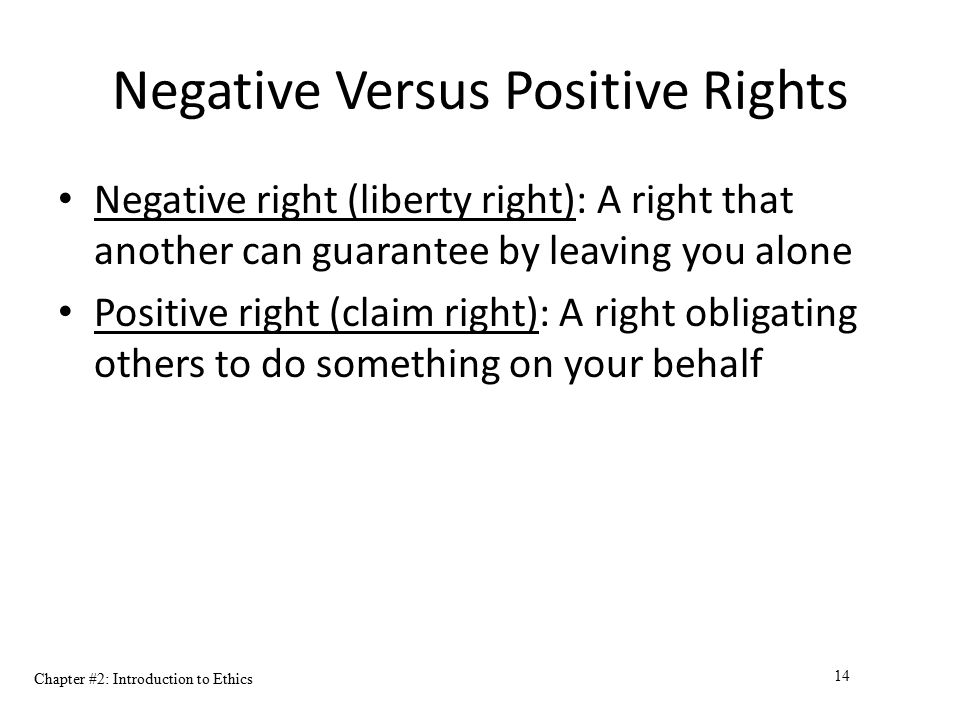 Negative Versus Positive Rights