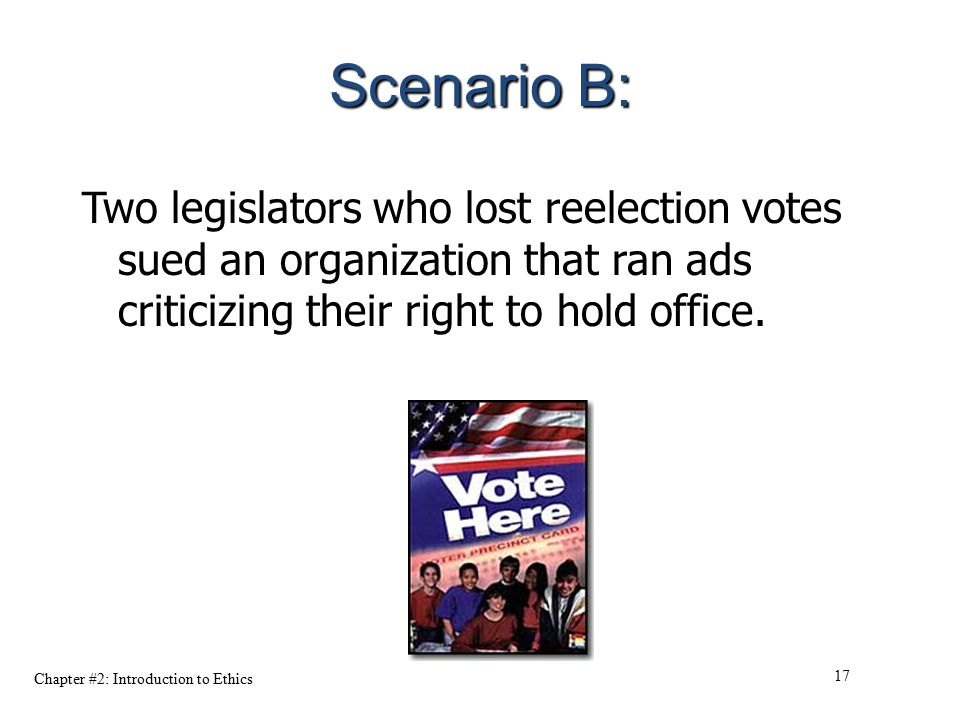 Scenario B: Two legislators who lost reelection votes sued an organization that ran ads criticizing their right to hold office.