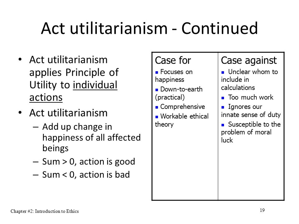 Act utilitarianism - Continued