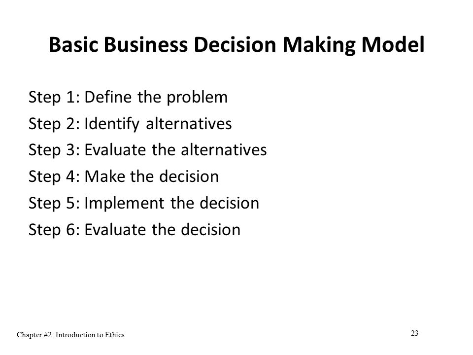 Basic Business Decision Making Model
