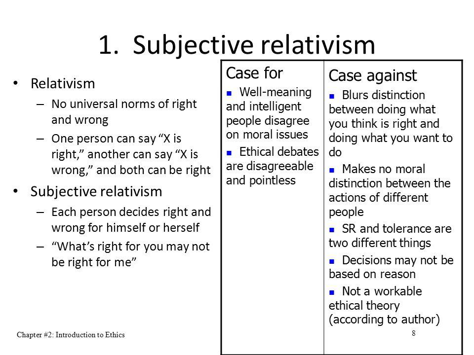 1. Subjective relativism