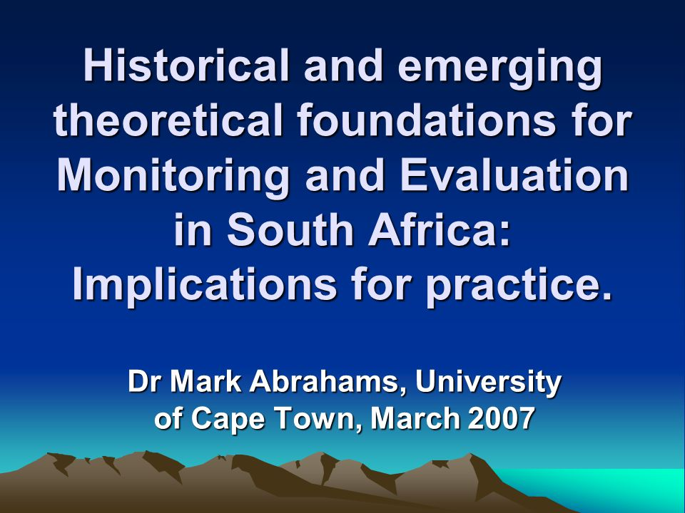 Dr Mark Abrahams, University of Cape Town, March 2007