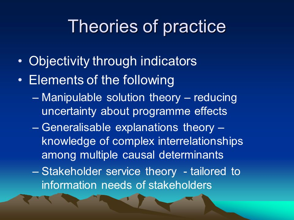 Theories of practice Objectivity through indicators